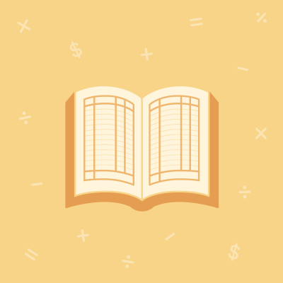 Book on yellow background with math symbols floating around