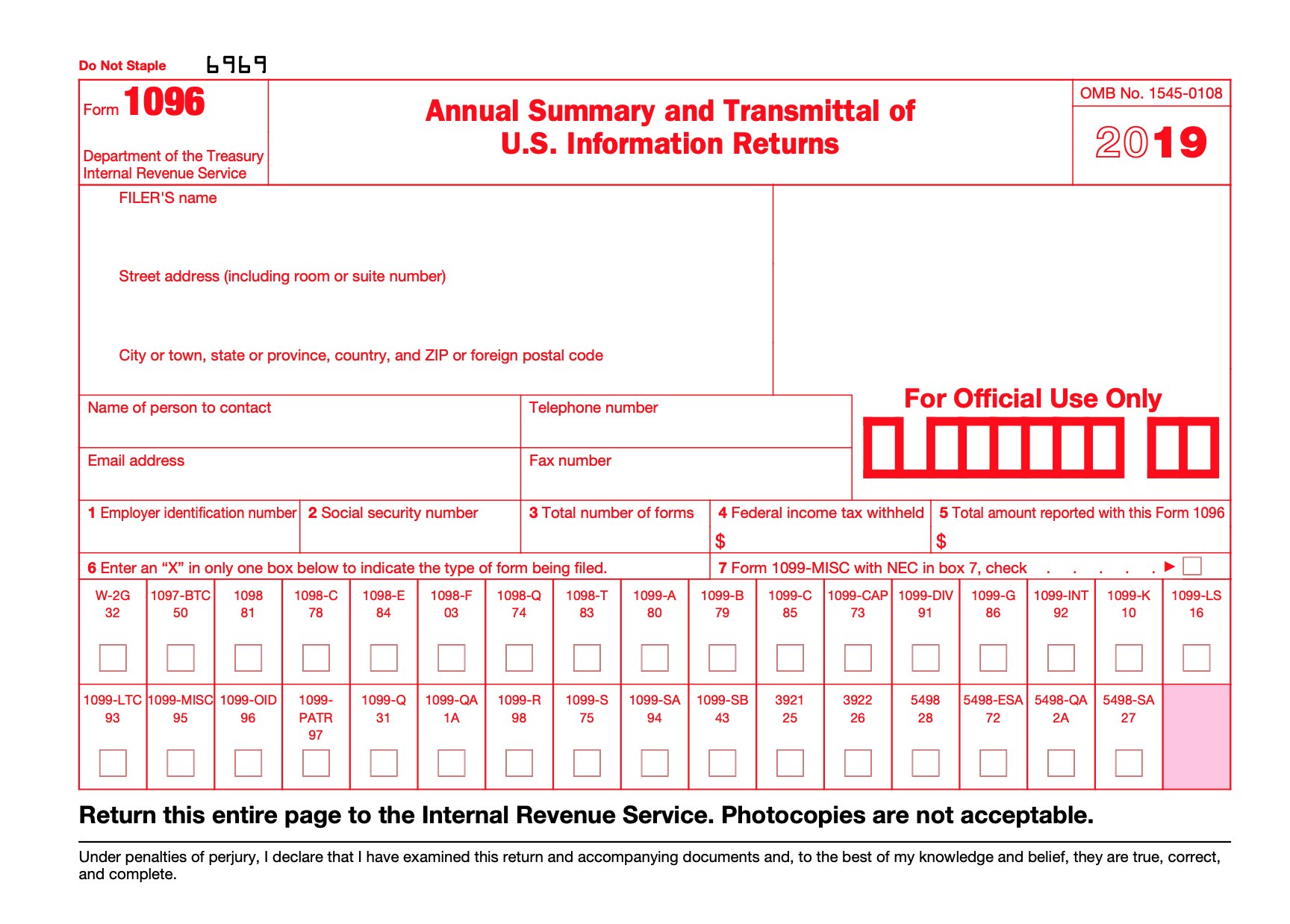 Form 1096 is a one-page form from the IRS that looks like this: