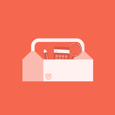 Pencil, calculator, and magnifying glass in white toolbox on red background
