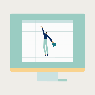 Computer monitor with animated man clutching onto spreadsheet for dear life on beige background