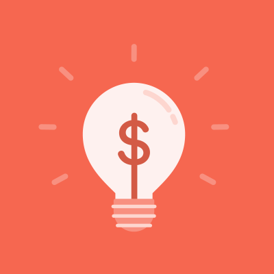 Red dollar sign in lightbulb on red background