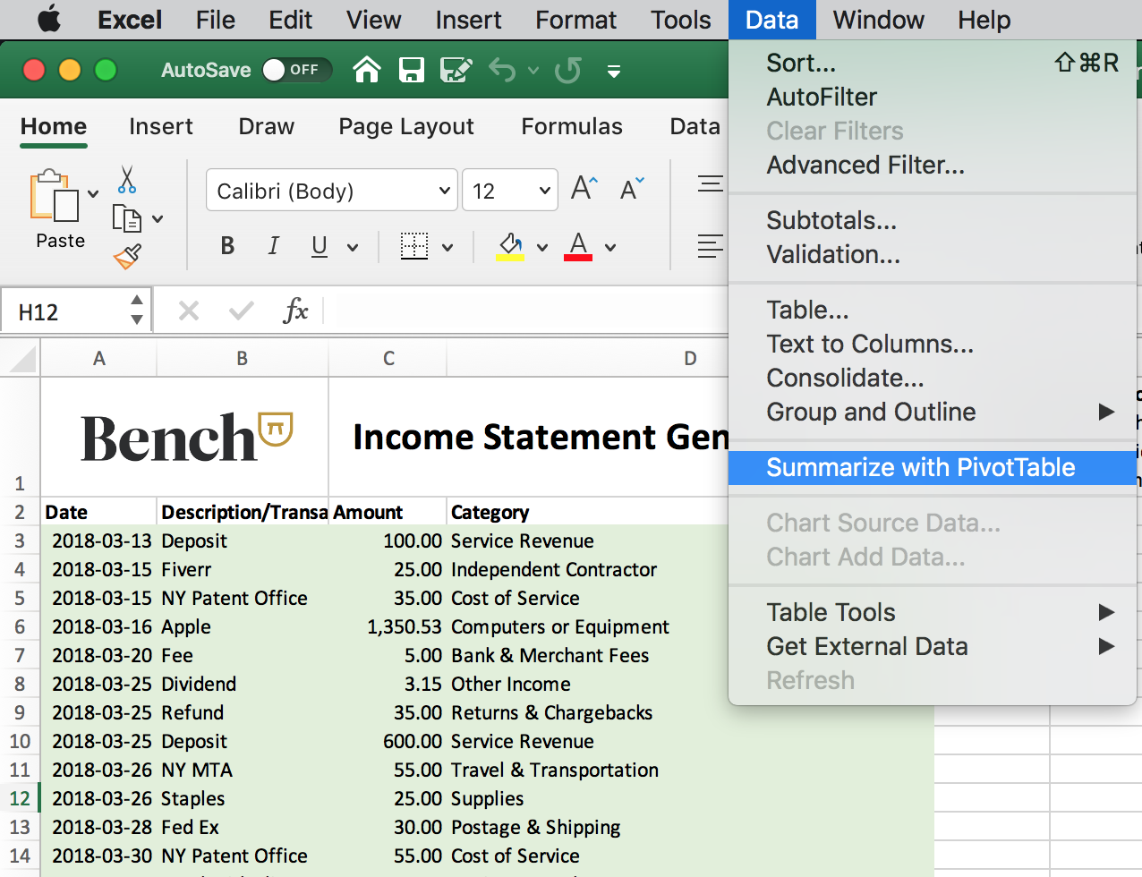 Accessing Pivot Tables in Excel