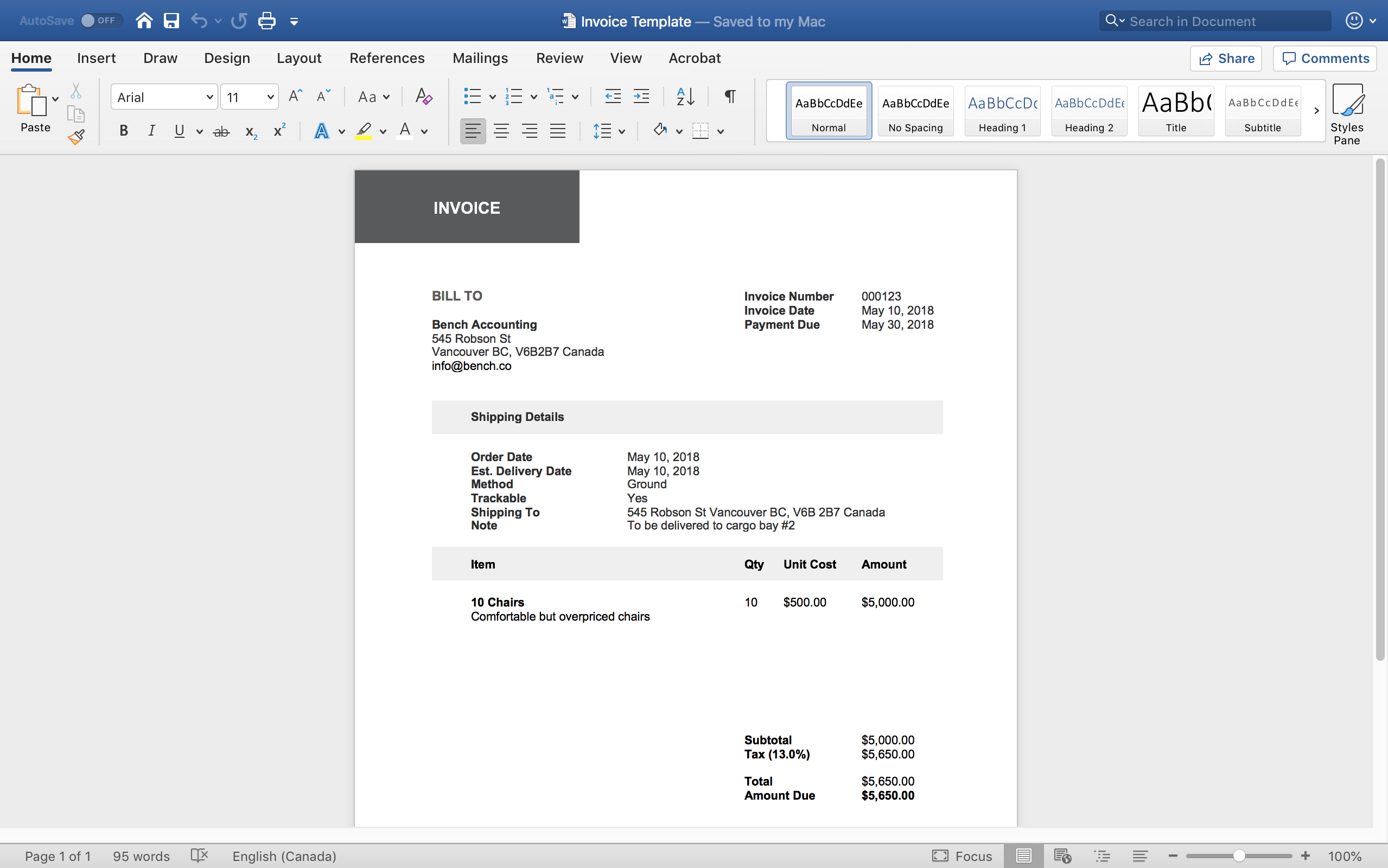 Microsoft Word Invoice Template