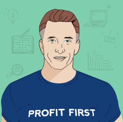 "An illustrated portrait of Mike Michalowicz, author of ""Profit First"""