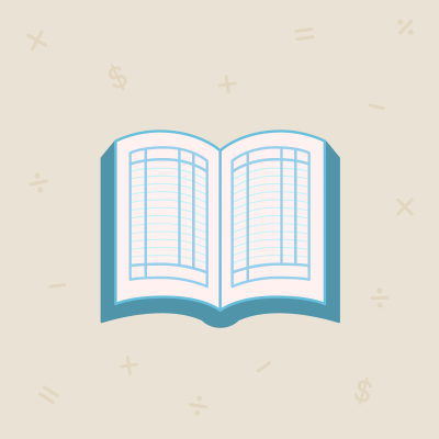 Light blue book on beige background with math symbols floating around