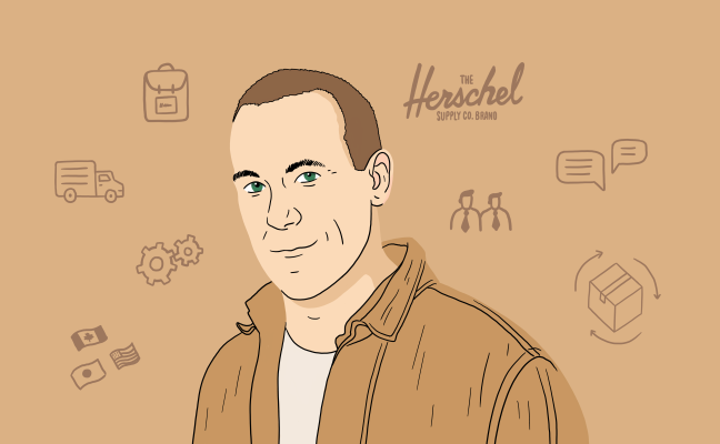 An illustrated portrait of Lyndon Cormack, Cofounder of Herschel Supply Co.