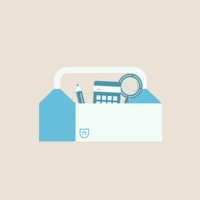 Pencil, calculator, and magnifying glass in white and blue  toolbox on beige background