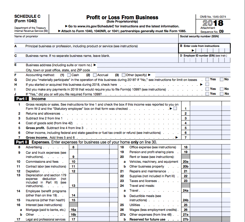 schedule c  form 1040   a simple walkthrough