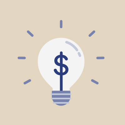 Navy dollar sign in lightbulb on beige background