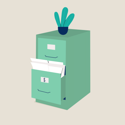 Green filing cabinet with cactus on top on beige background