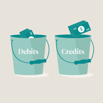 "Two buckets labeled ""debits"" and ""credits"""