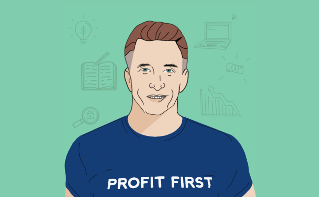 An illustration of Mike Michalowicz, author of Profit First.