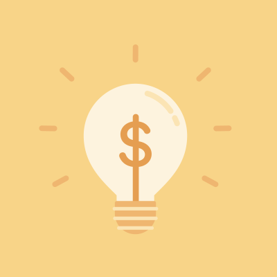 Yellow dollar sign in lightbulb on yellow background