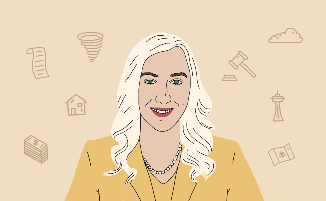 Illustrated portrait of Ally Lozano, an immigration lawyer.