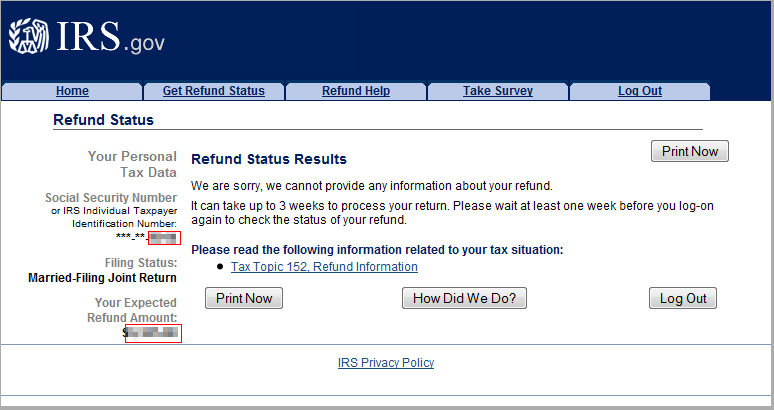 IRS Refund Status Results