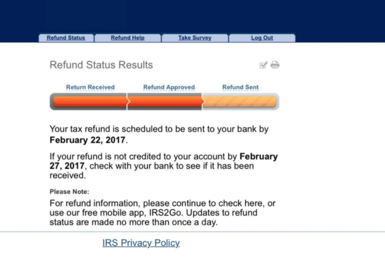 IRS Refund Status Results revised
