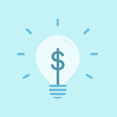 Blue dollar sign in lightbulb on blue background