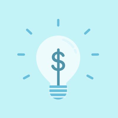 Blue dollar sign in lightbulb on blue background