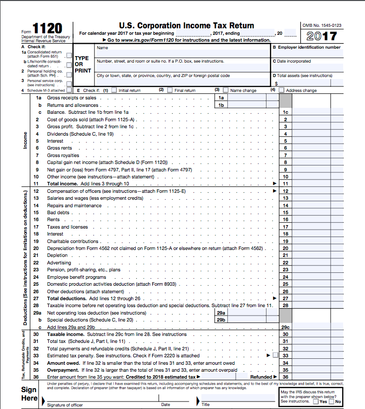 How Much Is Tax In Bc >> Tax Form 1120—What It Is, How to File It | Bench Accounting