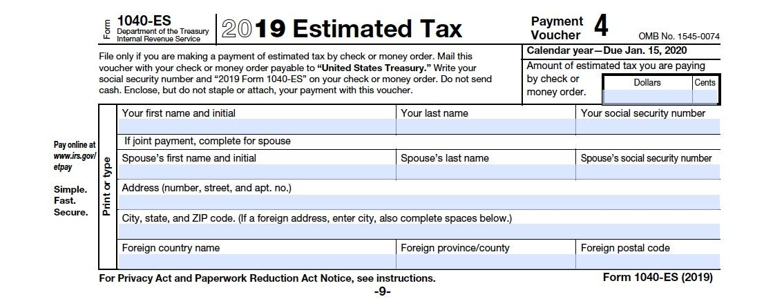 form 1040 quarterly payments  Form 12-ES: A Simple Guide to Estimated Tax Forms | Bench ...