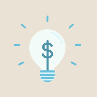 Blue dollar sign in lightbulb with blue striped base on beige background