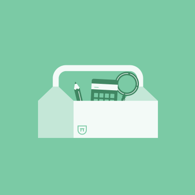 Pencil, calculator, and magnifying glass in white toolbox on green background