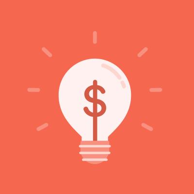 a lightbulb with a dollar sign inside