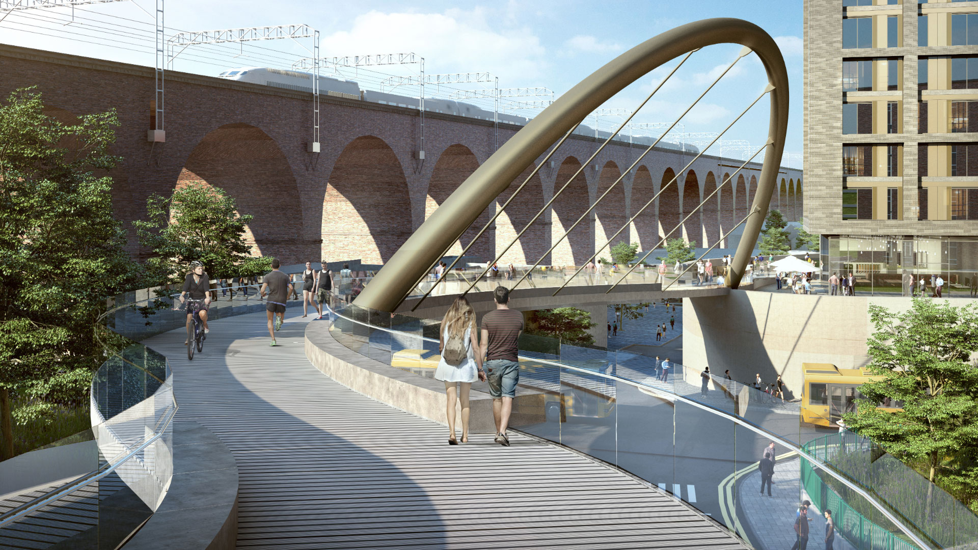 News - Viaduct view of Stockport cycling and walking bridge
