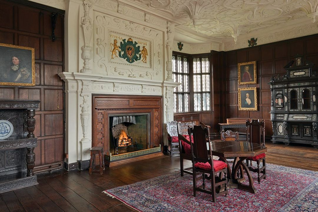 Bramall Hall Withdrawing room with restored plaster ceiling