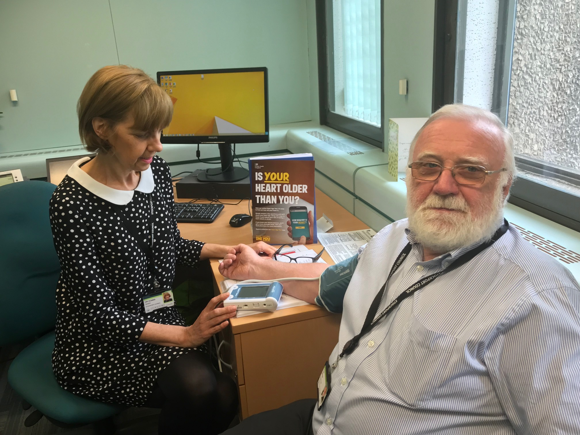Dr Donna Sager, Director of Public Health and Councillor Tom McGee - Blood Pressure