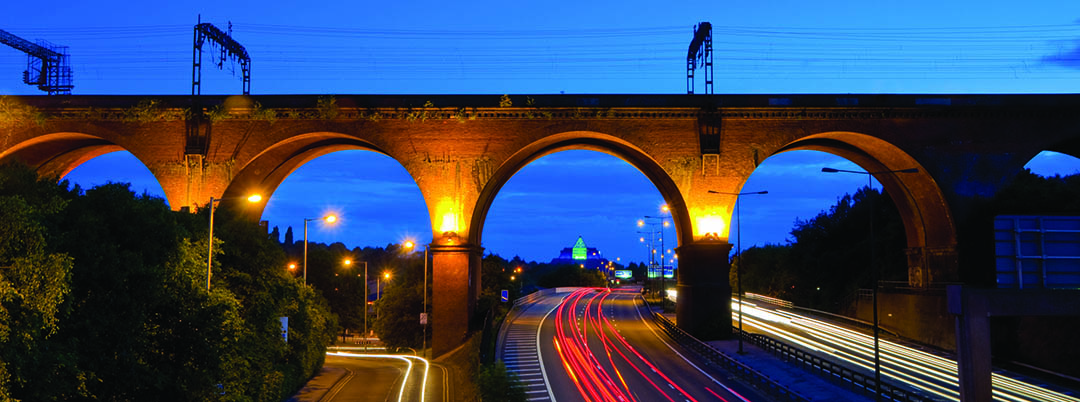 Viaduct at night