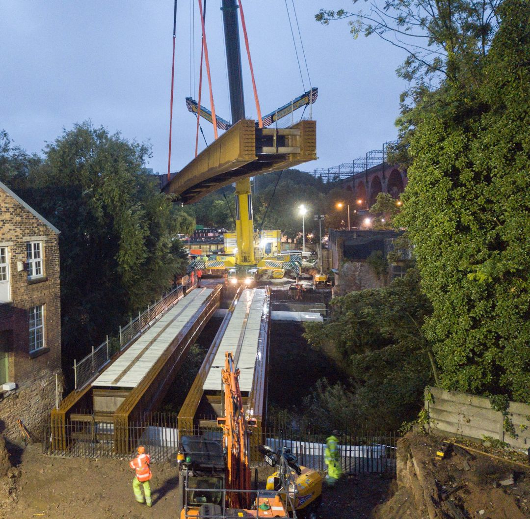 Mersey spanned as new Stockport bridge superstructure lifted into place