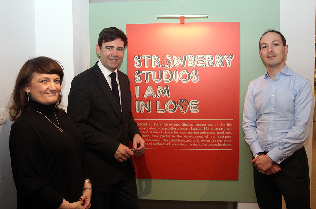Mayor of Greater Manchester listens to his favourite bands at Strawberry Studios exhibition