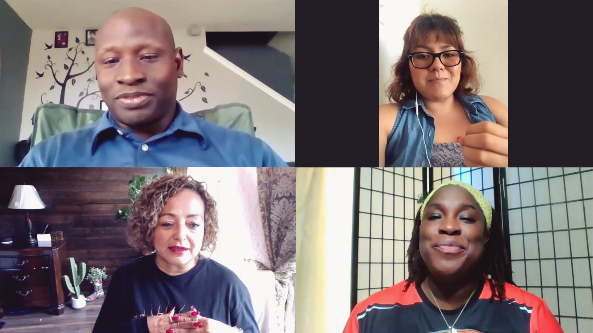 Alfonzo Murray (top left), Claudia Zapata (top right), Marilú Fructuoso (bottom left) and Christina Muhammad (bottom right) discuss the negative impacts of living near Circuit of The Americas.