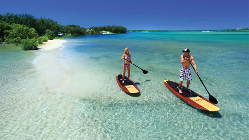 The calm waters of Caloundra are ideal for SUP and kayaking adventures.