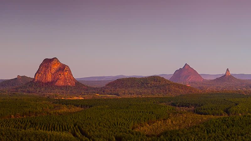 The iconic Glass House Mountains
