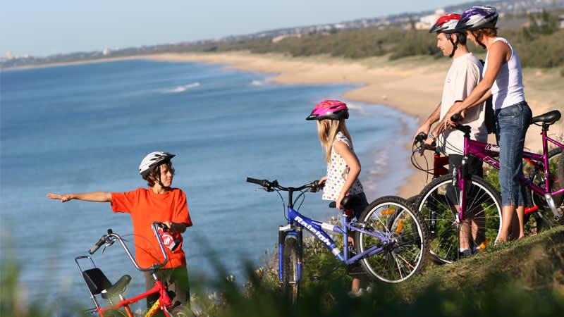 Bike riding on the coastal pathway