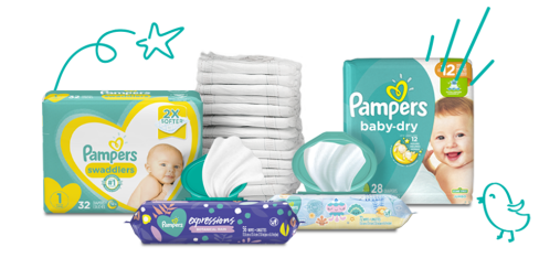 Couches et lingettes Pampers