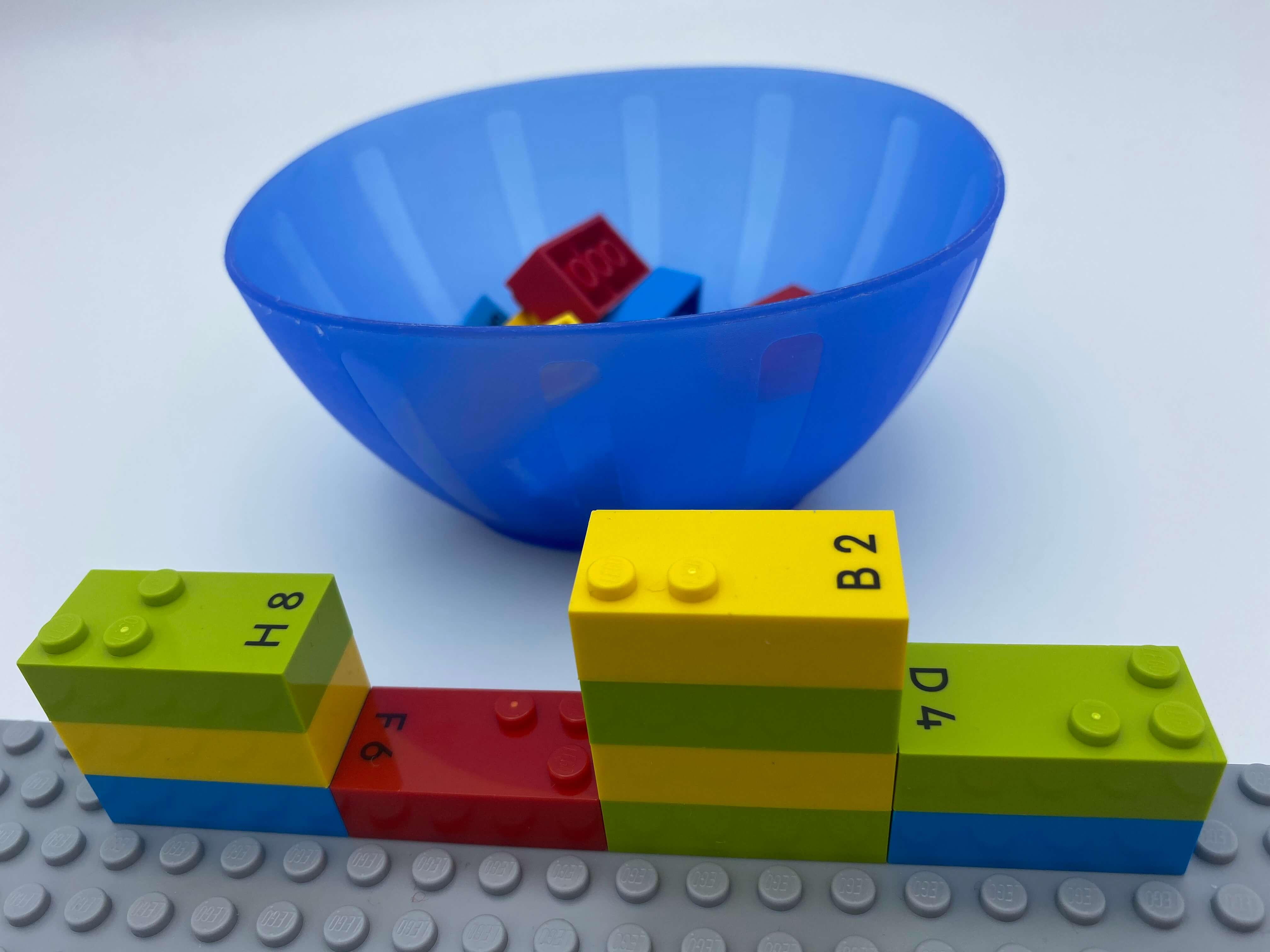 A wall of 10 number bricks on the top of the base plate , a bowl with bricks. We can see number bricks 8, 6, 2, 4.