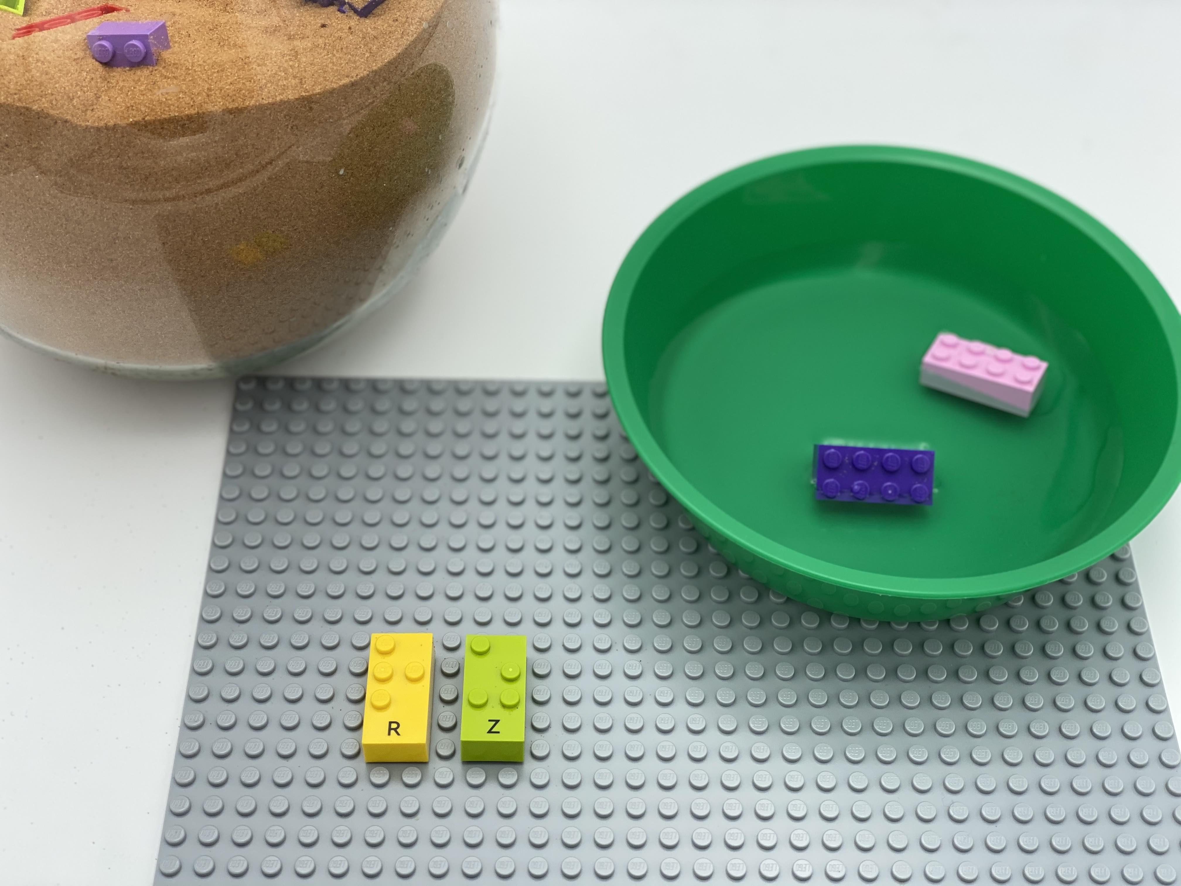 2 classic brick turtles are in a bowl filled with water, 2 lizard bricks (letter R and Z) are attached on the plate.