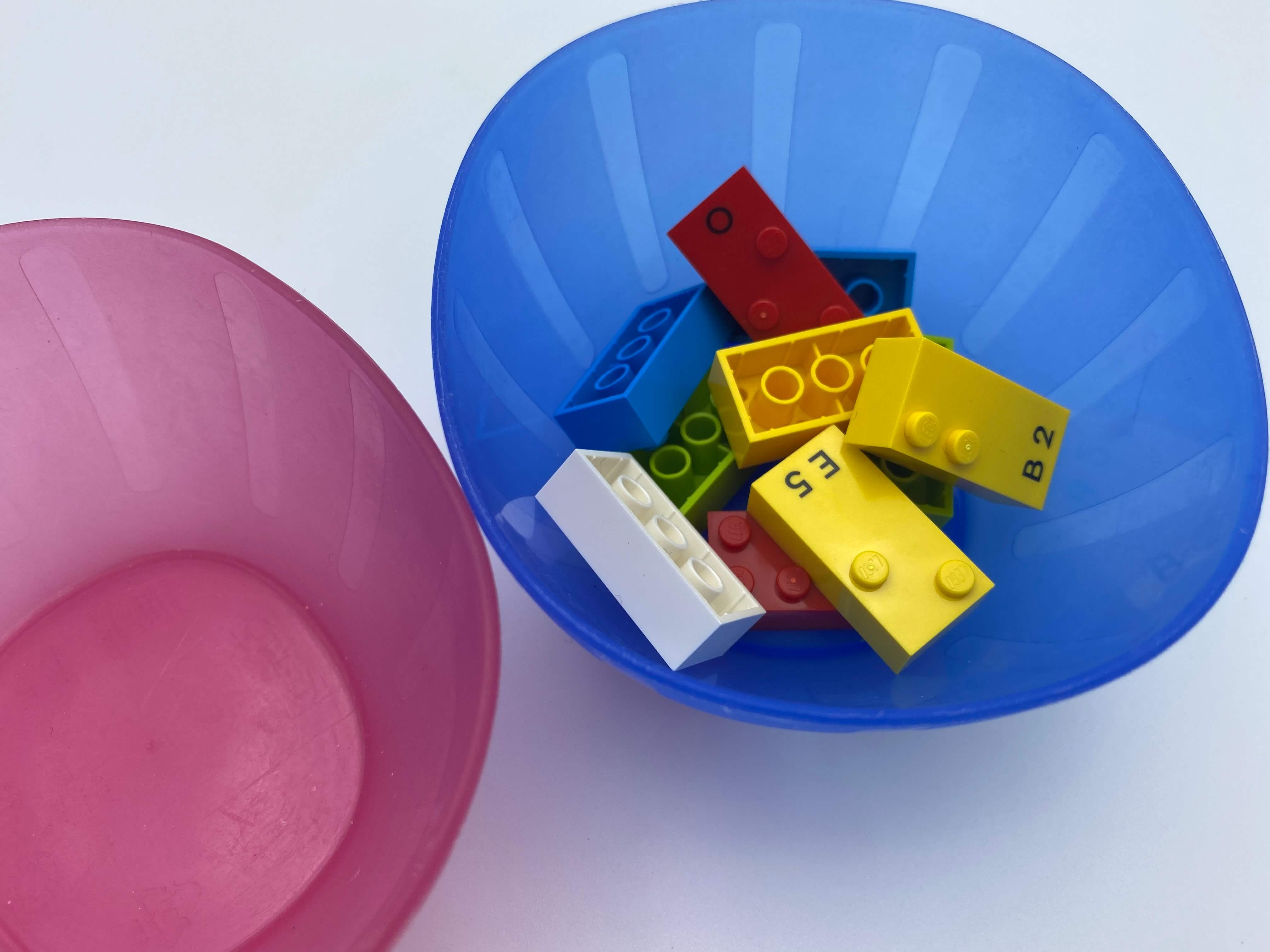 10 separated bricks in bowl 2, bowl 1 empty.