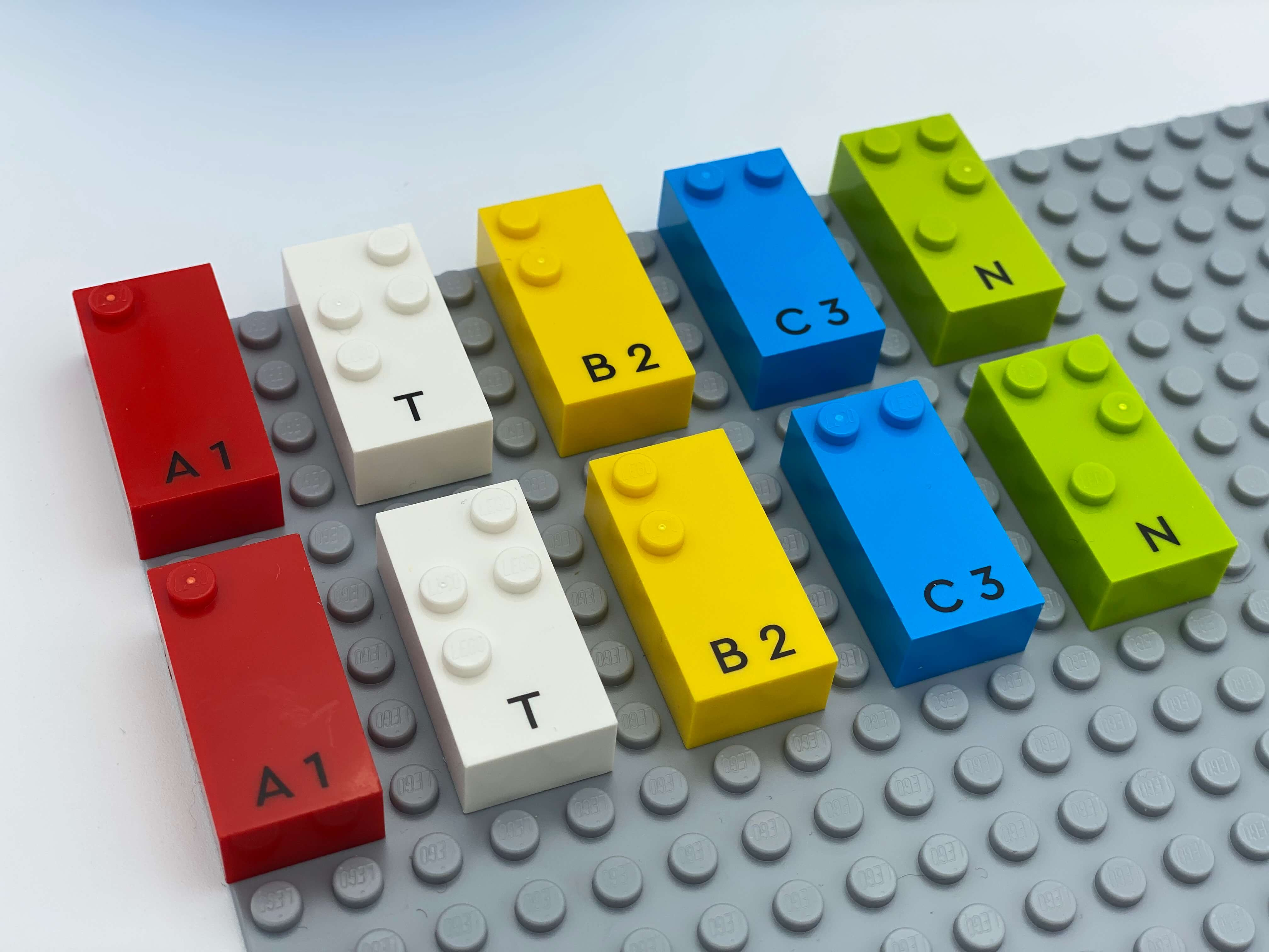 2 identical group of 5 letter bricks.