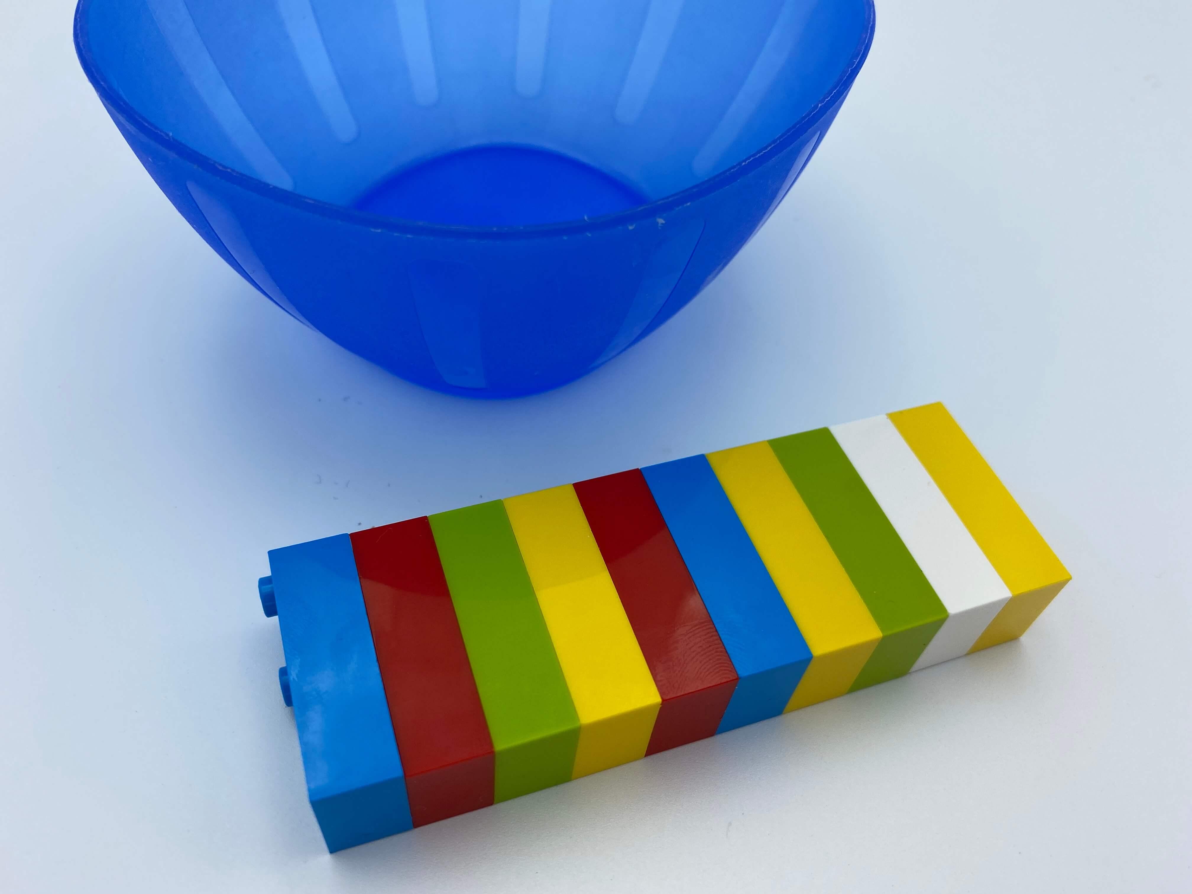 10 bricks attached, an empty bowl.