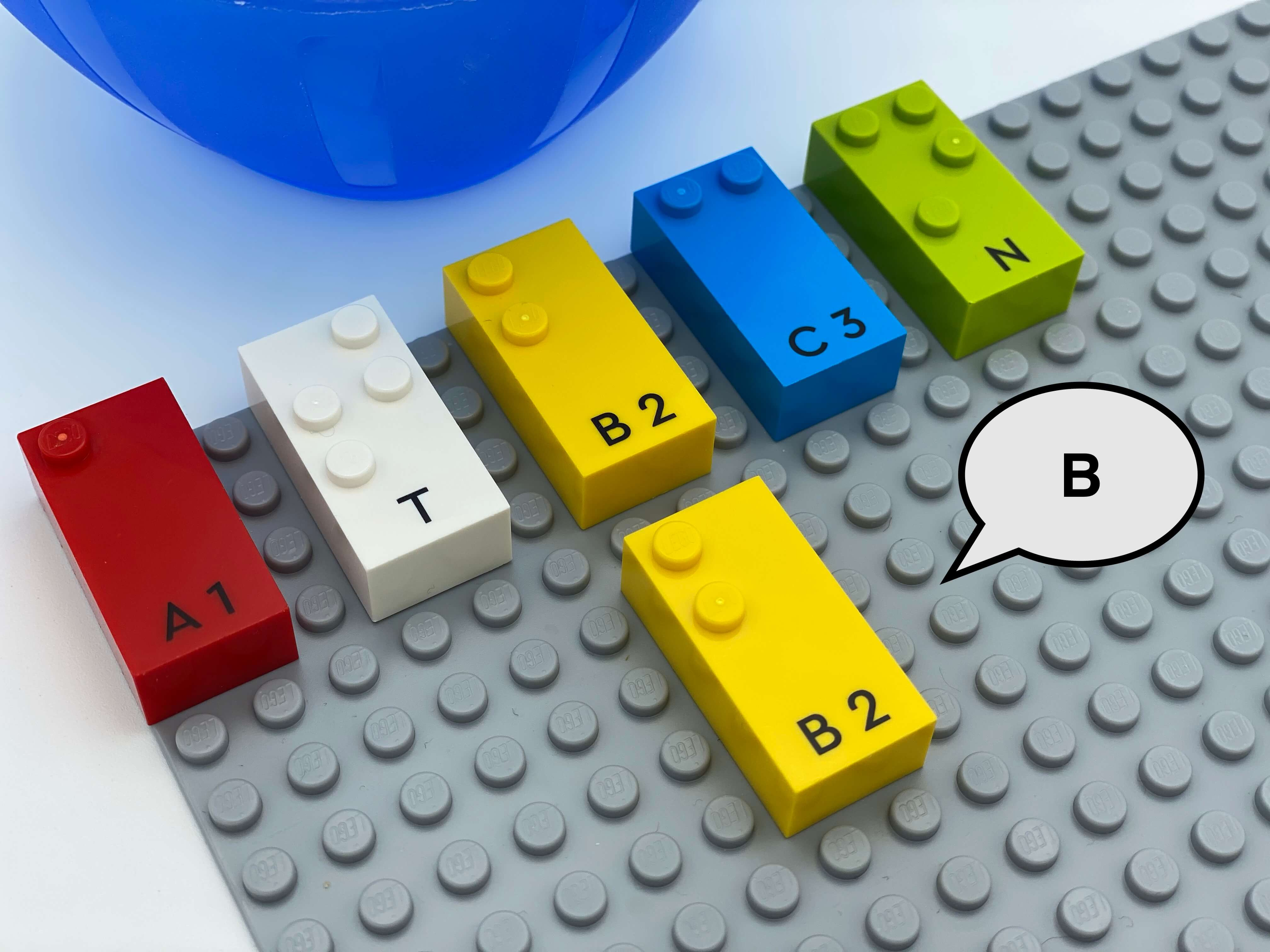 """5 letter bricks aligned on the base plate: a, t, b, c, n. A second letter b down the other one, a speech bubble says""""b""""."""