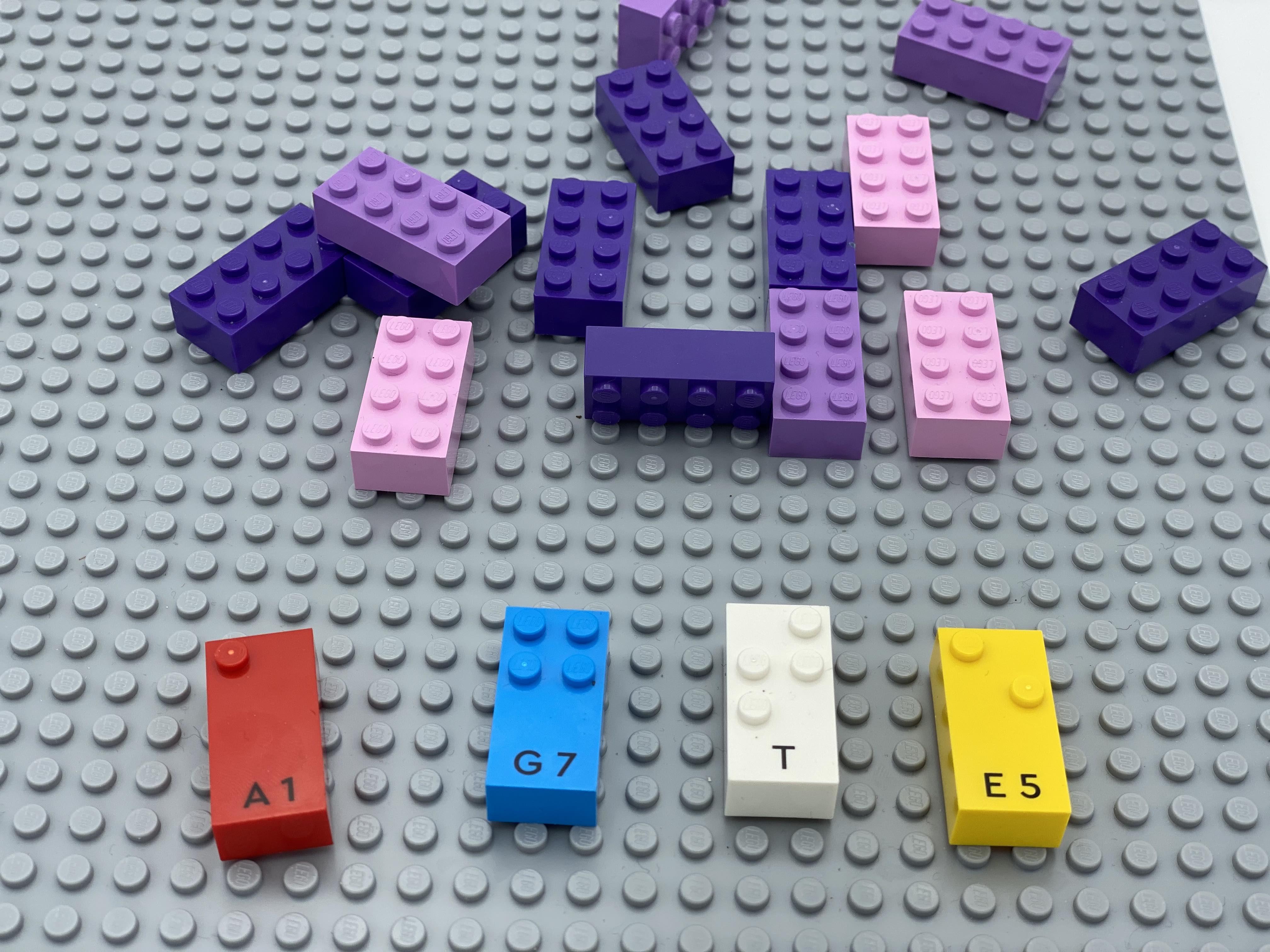 letter bricks a, g, t, e, classic bricks non attached.