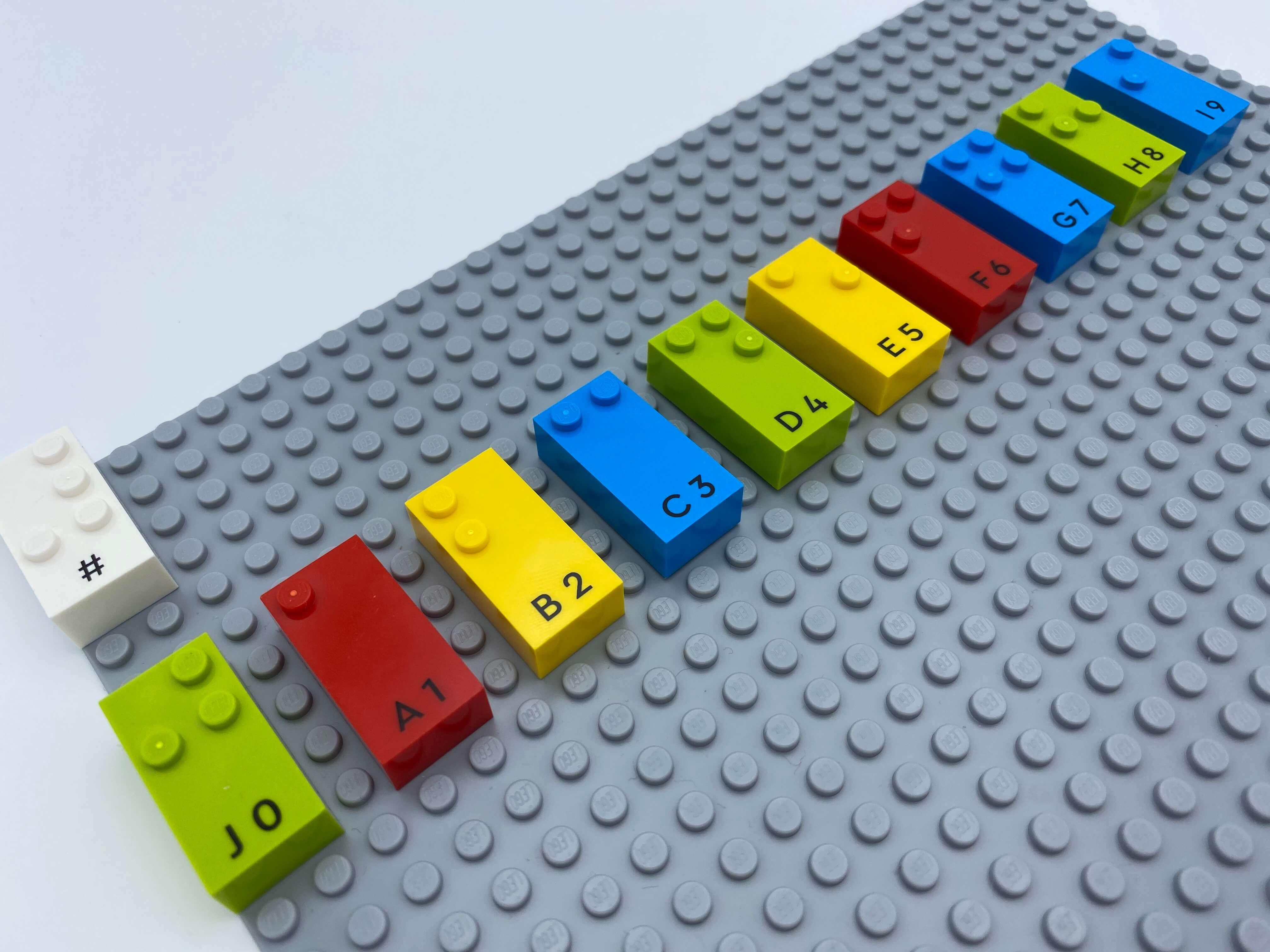 A number brick sign, 10 number bricks aligned 0 thru 9.