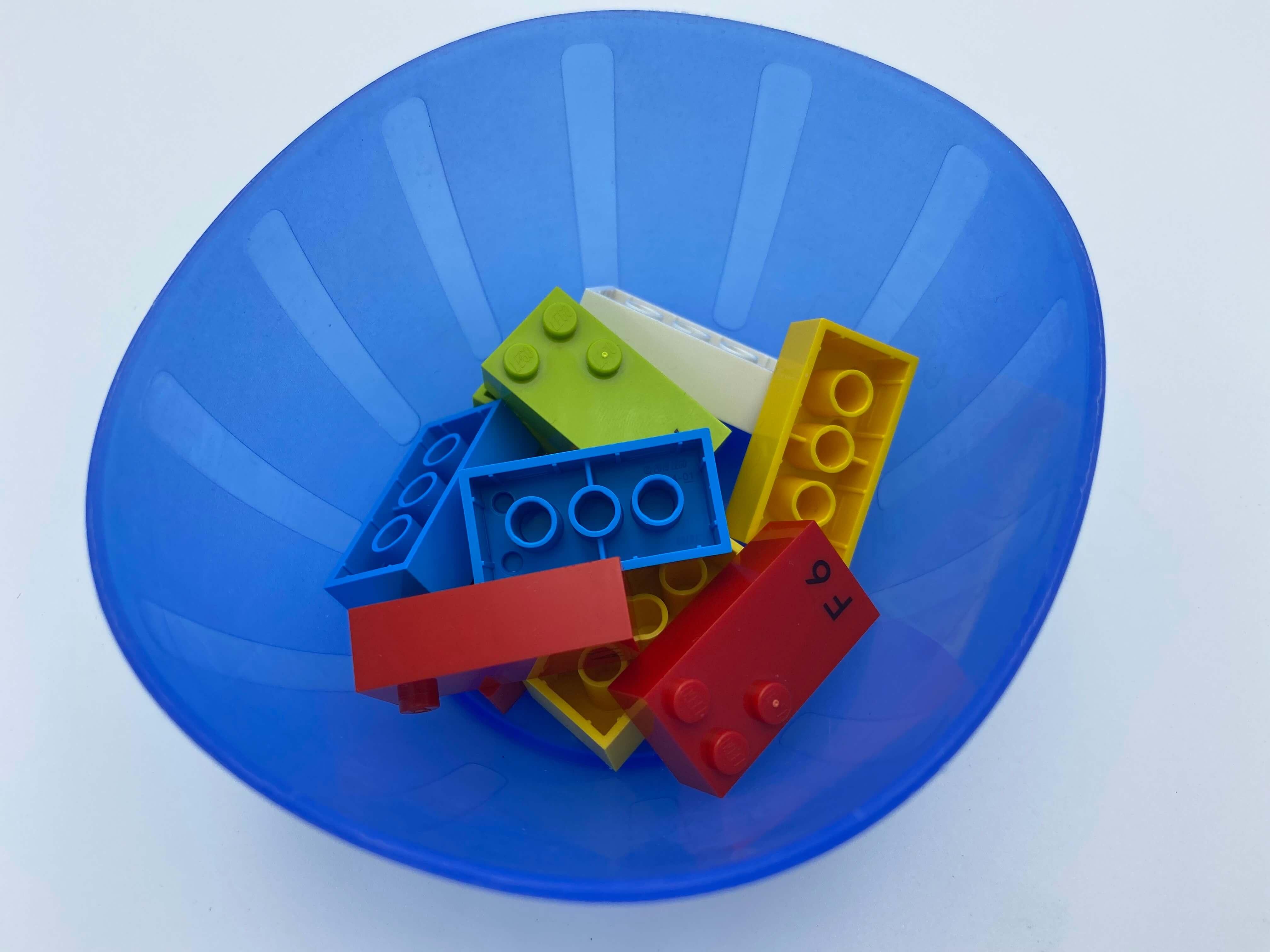 A bowl with 10 bricks.