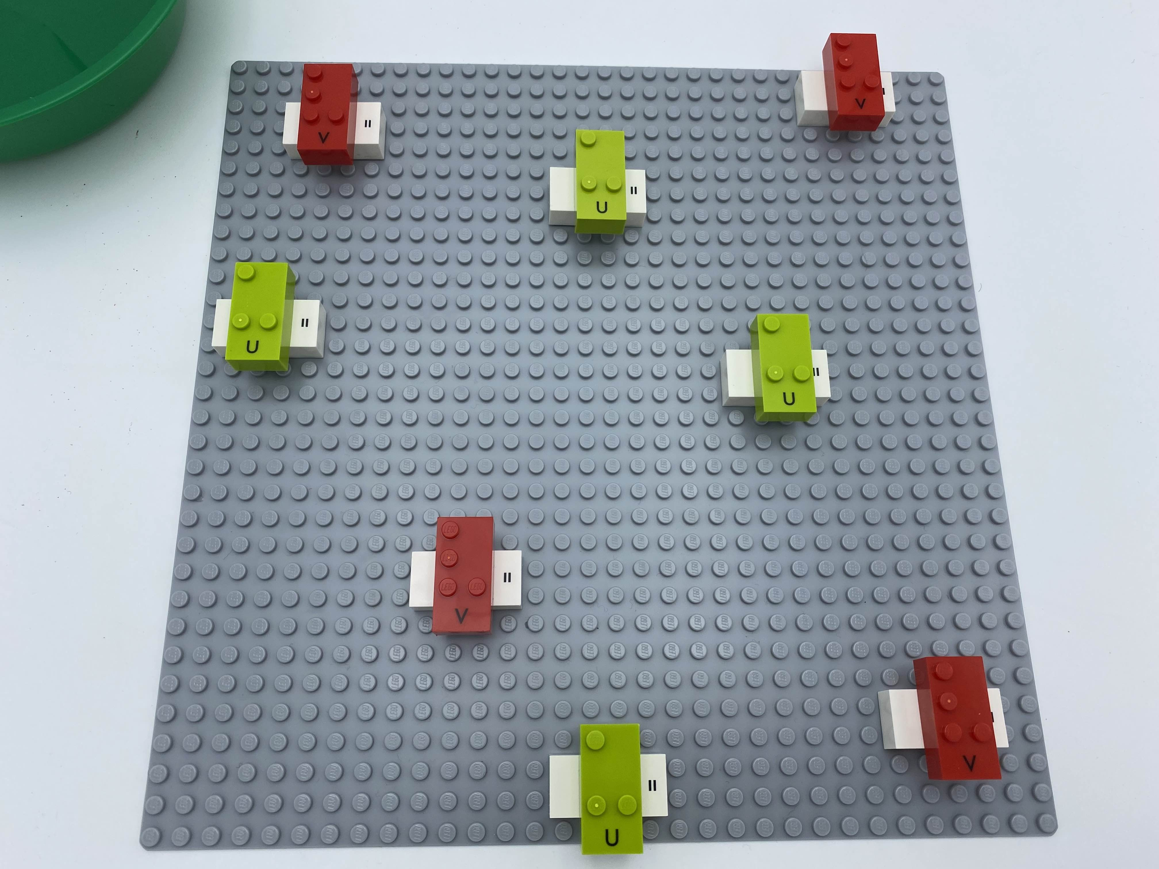 All vertical bricks have been attached onto of all horizontal ones, to make 8 crosses.