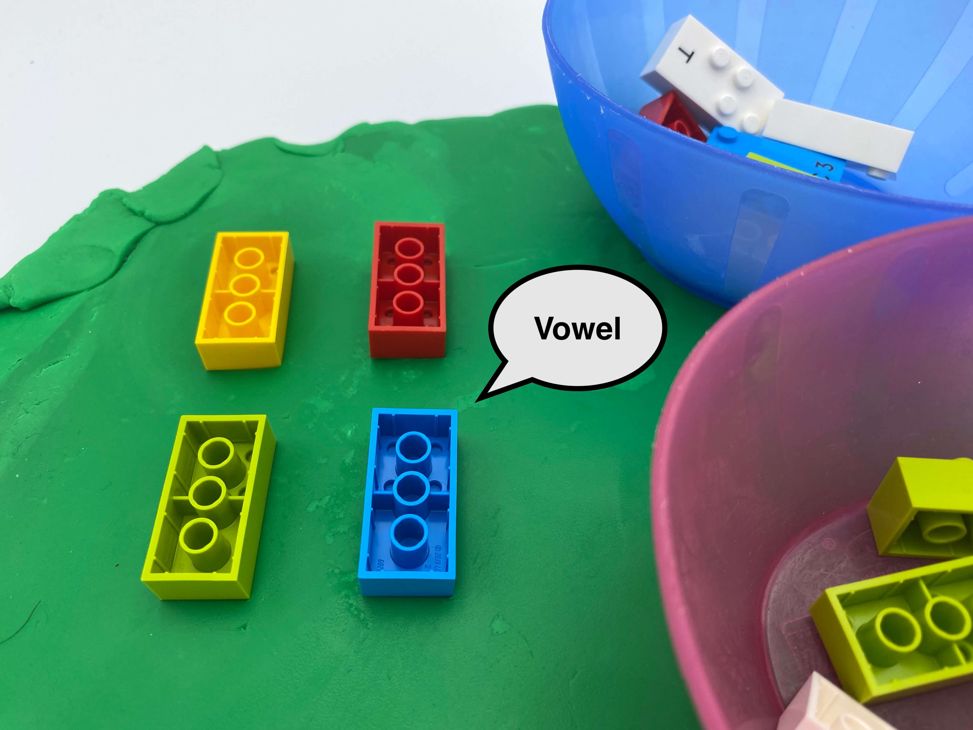 "4 brick upside down on a flat piece of Play-dough, a speech bubble saying ""vowel"", 2 bowls with bricks inside."