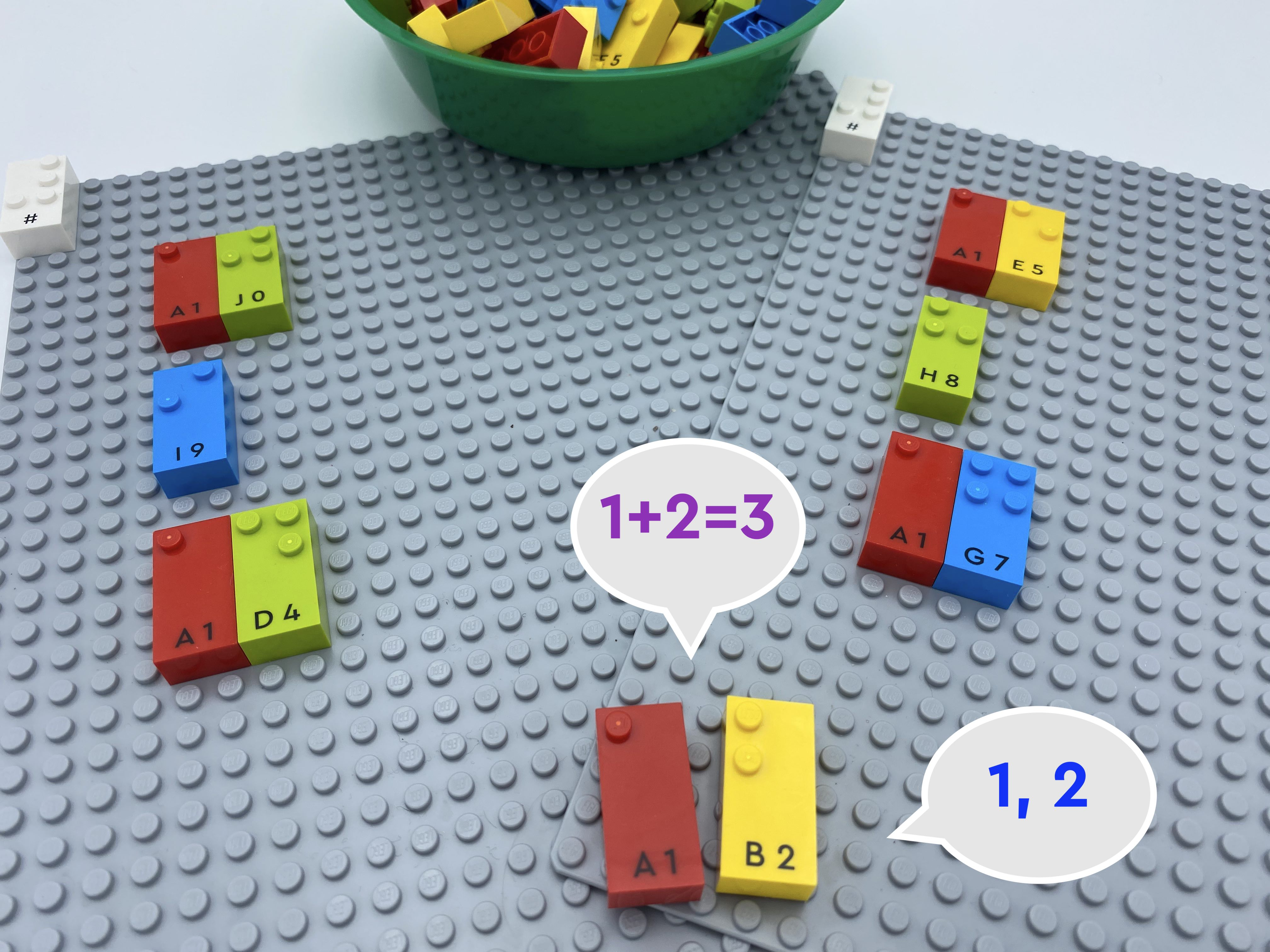 2 bingo cards: 10, 9, 14 and 15, 8, 17. Number bricks 1 and 2. 1 bubble speech says 1, 2 another says 1+2 =3